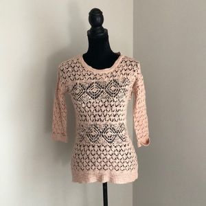 Pink Rose ¾ sleeve open knit sweater (s)
